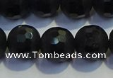 COB474 15.5 inches 8mm faceted round matte black obsidian beads