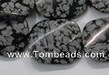 COB59 22*26mm twisted rectangle Chinese snowflake obsidian beads