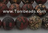 COB674 15.5 inches 12mm round matte red snowflake obsidian beads