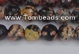 COB678 15.5 inches 8mm faceted round red snowflake obsidian beads