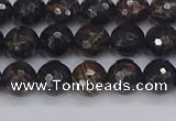 COB685 15.5 inches 6mm faceted round golden black obsidian beads