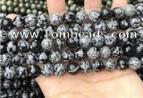 COB761 15.5 inches 10mm round snowflake obsidian beads wholesale