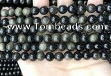 COB767 15.5 inches 8mm round golden obsidian beads wholesale