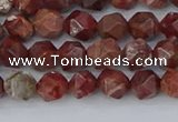 COJ1006 15.5 inches 6mm faceted nuggets pomegranate jasper beads