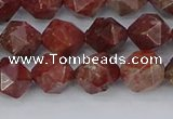 COJ1007 15.5 inches 8mm faceted nuggets pomegranate jasper beads