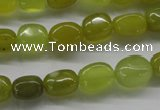 COJ111 15.5 inches 7*10mm nugget olive jade beads wholesale