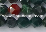 COJ322 15.5 inches 10mm faceted nuggets Indian bloodstone beads