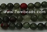 COJ460 15.5 inches 4mm faceted round blood jasper beads wholesale