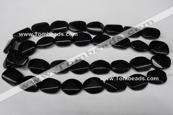 CON106 15.5 inches 18*25mm cut oval black onyx gemstone beads