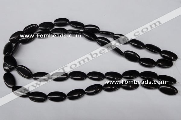CON33 15.5 inches 10*18mm oval black onyx gemstone beads