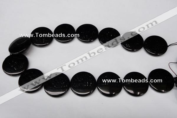 CON48 15.5 inches 28mm flat round black onyx gemstone beads