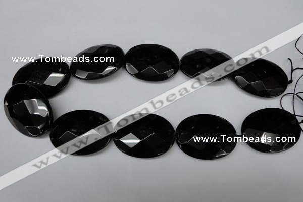 CON70 15.5 inches 30*40mm faceted oval black onyx gemstone beads