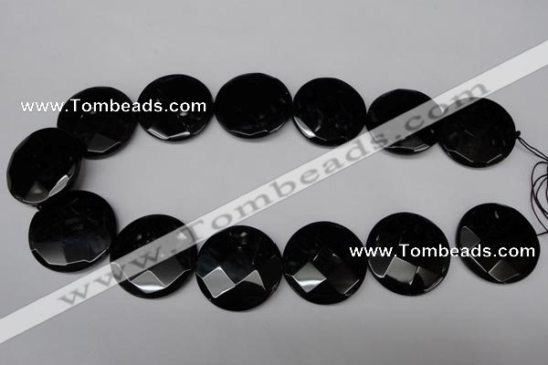 CON85 15.5 inches 32mm faceted coin black onyx gemstone beads