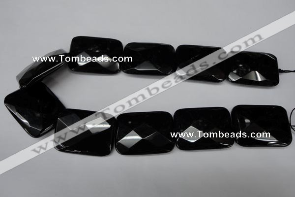 CON94 15.5 inches 30*40mm faceted rectangle black onyx gemstone beads