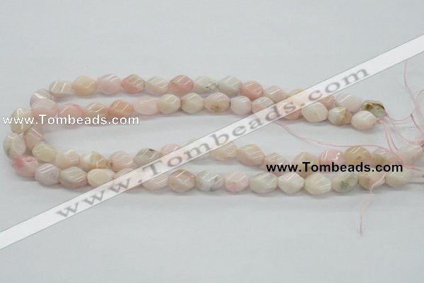 COP06 15.5 inches 9*12mm twisted rice natural pink opal beads wholesale