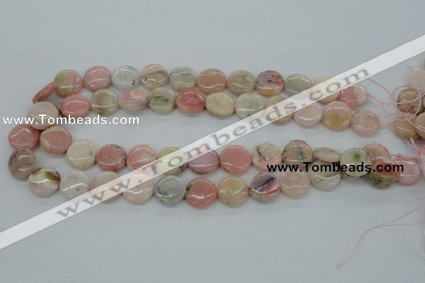 COP08 15.5 inches 16mm flat round natural pink opal beads wholesale