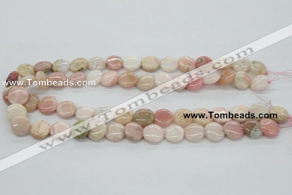 COP09 15.5 inches 14mm flat round natural pink opal beads wholesale