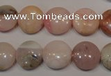 COP1015 15.5 inches 14mm flat round natural pink opal gemstone beads