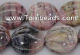 COP1265 15.5 inches 20mm flat round natural pink opal gemstone beads