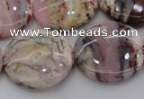 COP1267 15.5 inches 25mm flat round natural pink opal gemstone beads