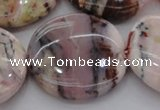 COP1270 15.5 inches 40mm flat round natural pink opal gemstone beads