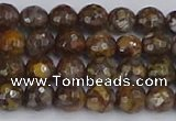 COP1387 15.5 inches 6mm faceted round fire lace opal beads