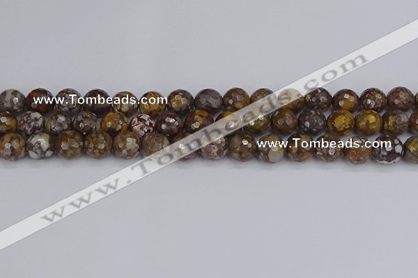COP1389 15.5 inches 10mm faceted round fire lace opal beads