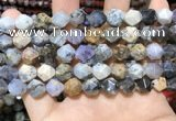 COP1518 15.5 inches 10mm faceted nuggets amethyst sage opal beads