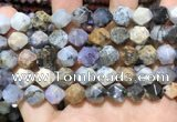 COP1519 15.5 inches 12mm faceted nuggets amethyst sage opal beads