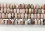 COP1553 15.5 inches 6*12mm - 8*13mm faceted tyre natural pink opal beads