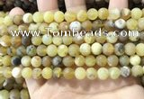COP1767 15.5 inches 8mm round matte yellow opal beads wholesale