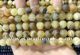 COP1768 15.5 inches 10mm round matte yellow opal beads wholesale