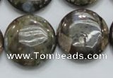 COP252 15.5 inches 25mm flat round natural grey opal gemstone beads