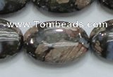 COP257 15.5 inches 20*30mm oval natural grey opal gemstone beads