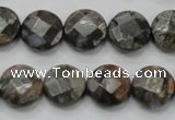 COP276 15.5 inches 14mm faceted round natural grey opal gemstone beads