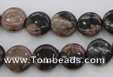 COP290 15.5 inches 12mm flat round natural grey opal beads