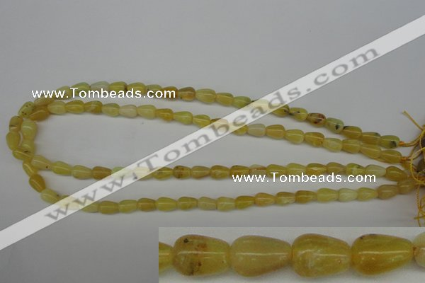 COP337 15.5 inches 6*9mm teardrop yellow opal gemstone beads
