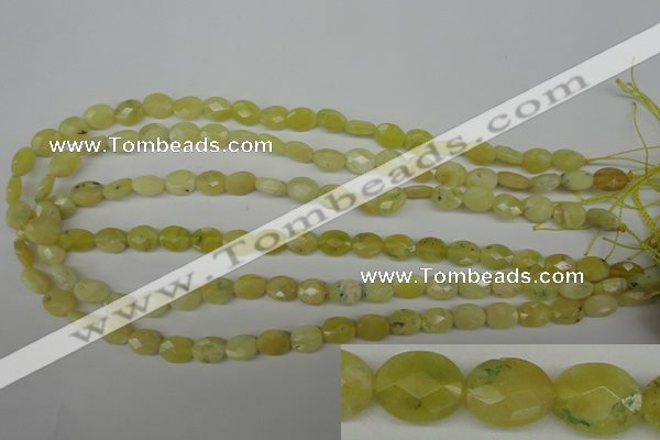 COP342 15.5 inches 8*10mm faceted oval yellow opal gemstone beads
