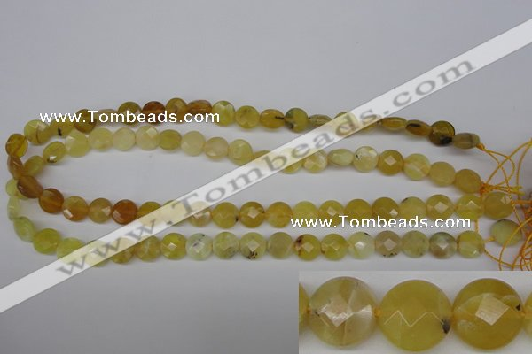 COP345 15.5 inches 10mm faceted coin yellow opal gemstone beads