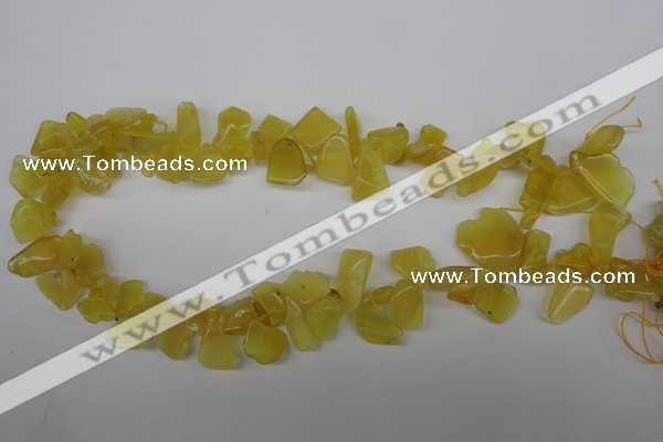 COP348 Top-drilled 7*8mm � 24*25mm freeform yellow opal gemstone beads