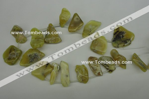 COP349 Top-drilled 12*22mm � 30*44mm freeform yellow opal gemstone beads