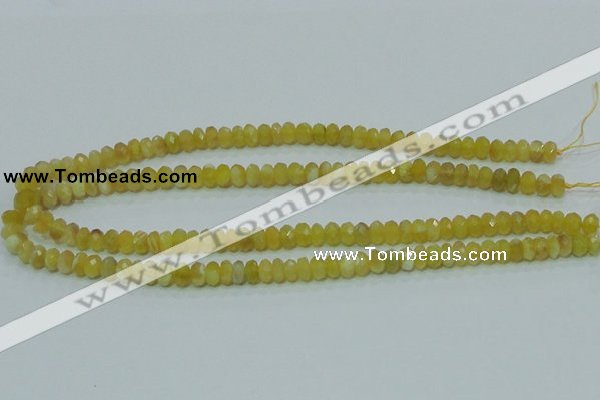 COP352 15.5 inches 5*8mm faceted rondelle yellow opal gemstone beads wholes