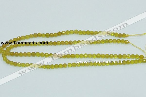 COP353 15.5 inches 6mm faceted round yellow opal gemstone beads wholesale