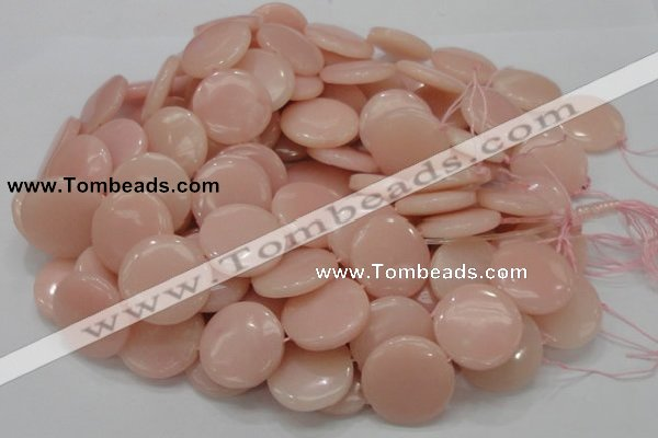 COP416 15.5 inches 28mm flat round Chinese pink opal gemstone beads
