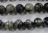 COP463 15.5 inches 10mm faceted round natural grey opal gemstone beads