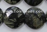 COP484 15.5 inches 25mm faceted coin natural grey opal beads