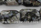 COP492 18*25mm faceted & twisted rectangle natural grey opal beads