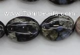 COP497 15.5 inches 12*16mm oval natural grey opal gemstone beads