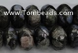 COP499 15.5 inches 8*12mm faceted rondelle natural grey opal beads