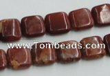 COP526 15.5 inches 12*12mm square red opal gemstone beads wholesale